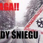Komunikat ostrzegawczy – opady śniegu
